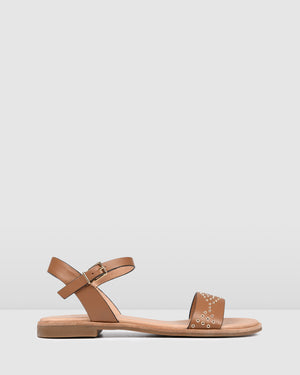 GABRIELLA FLAT SANDALS TAN LEATHER