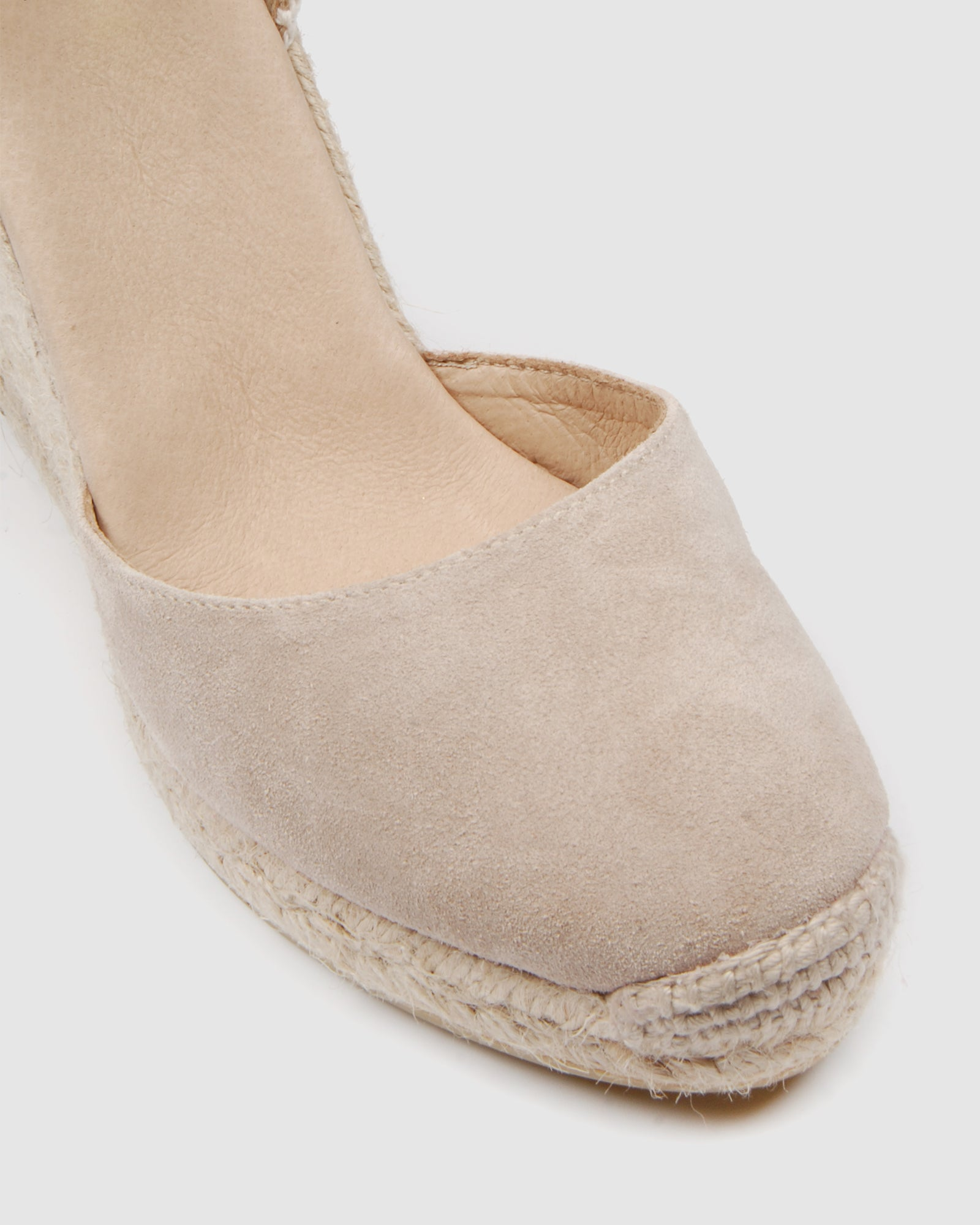 GEMMA HIGH HEEL WEDGE ESPADRILLES LIGHT TAUPE SUEDE