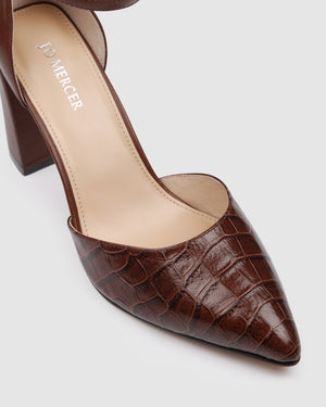 GILLIES HIGH HEELS BROWN CROC