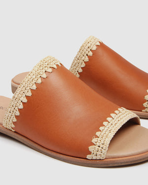 GLAZE FLAT SLIDES TAN LEATHER
