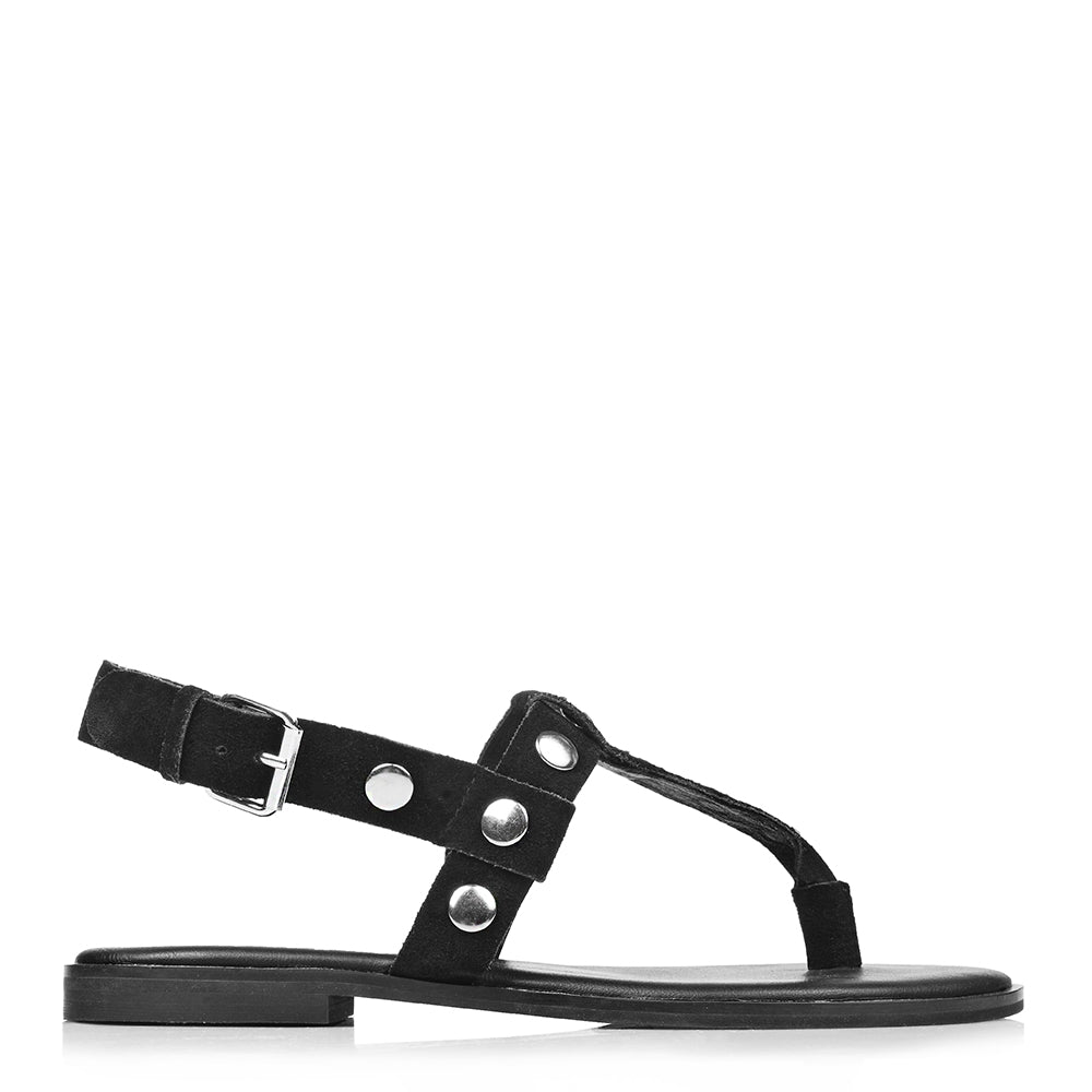 GODDESS FLAT SANDALS BLACK SUEDE