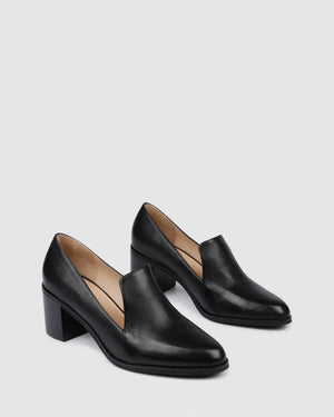 GRETEL MID HEELS BLACK LEATHER
