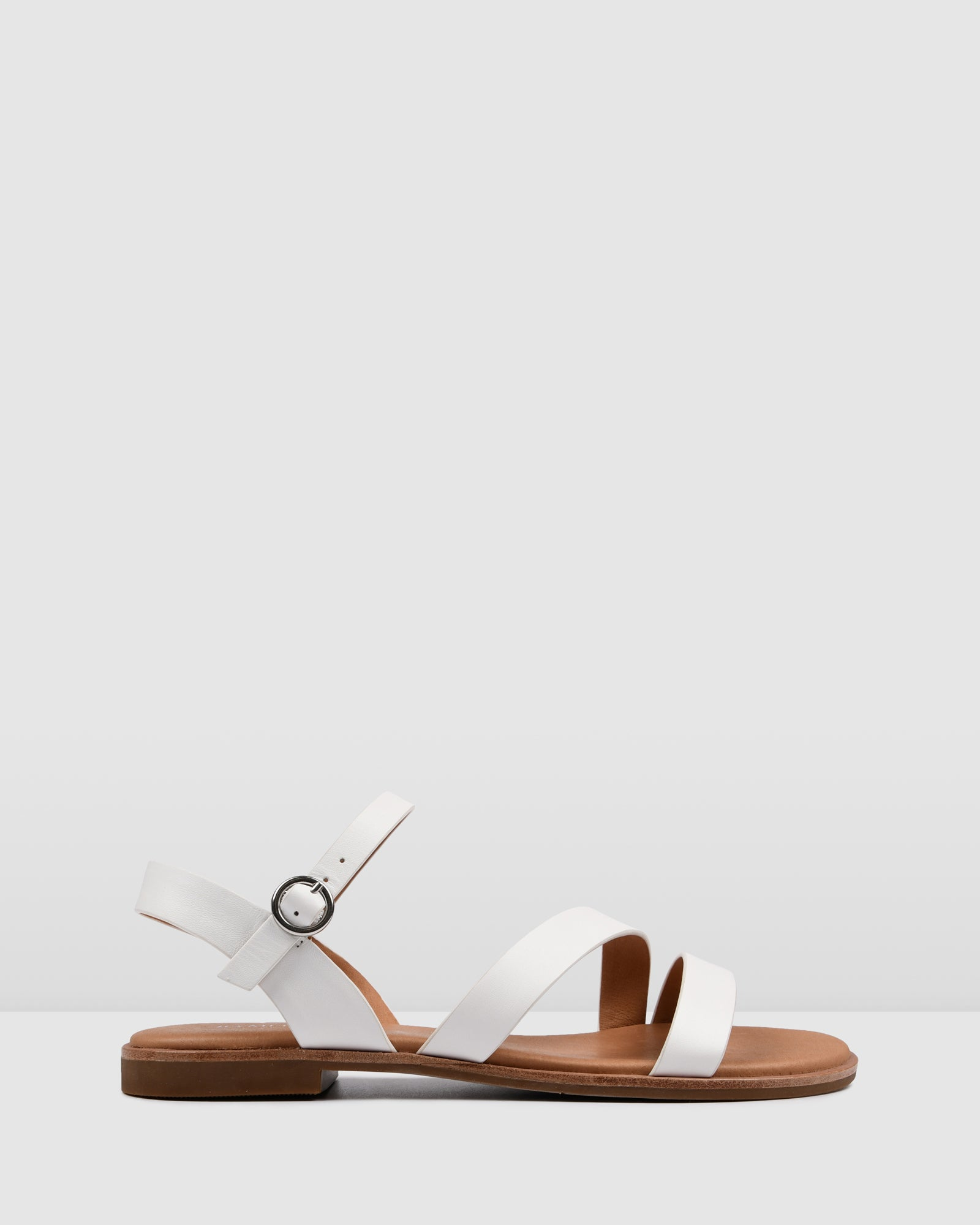 GYPSY FLAT SANDALS WHITE LEATHER