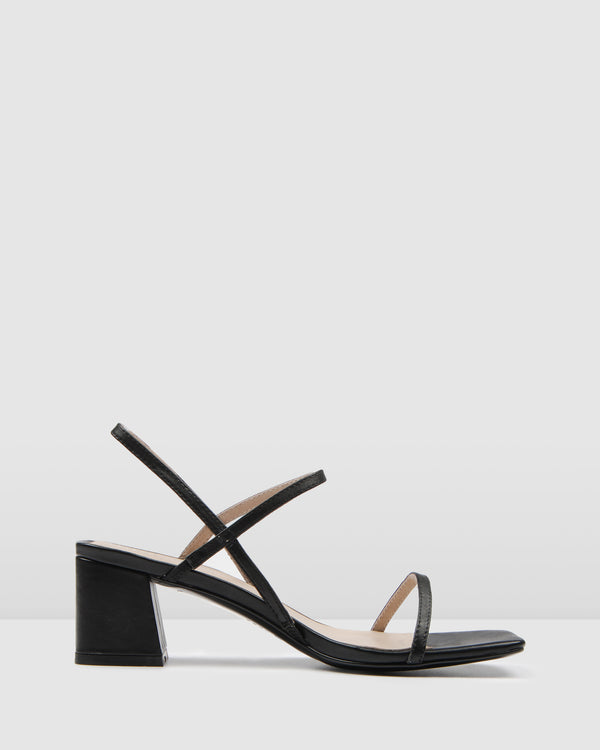 HARMONY MID HEEL SANDALS BLACK LEATHER