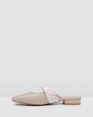 HAIL DRESS FLATS BEIGE LEATHER