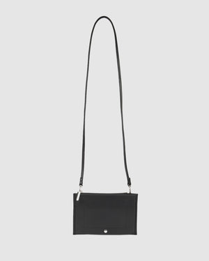 HALLIE CROSS BODY BAG BLACK LEATHER