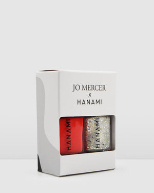JO MERCER X HANAMI HOLIDAY DUO PACK NAIL POLISH RED & SILVER GLITTER