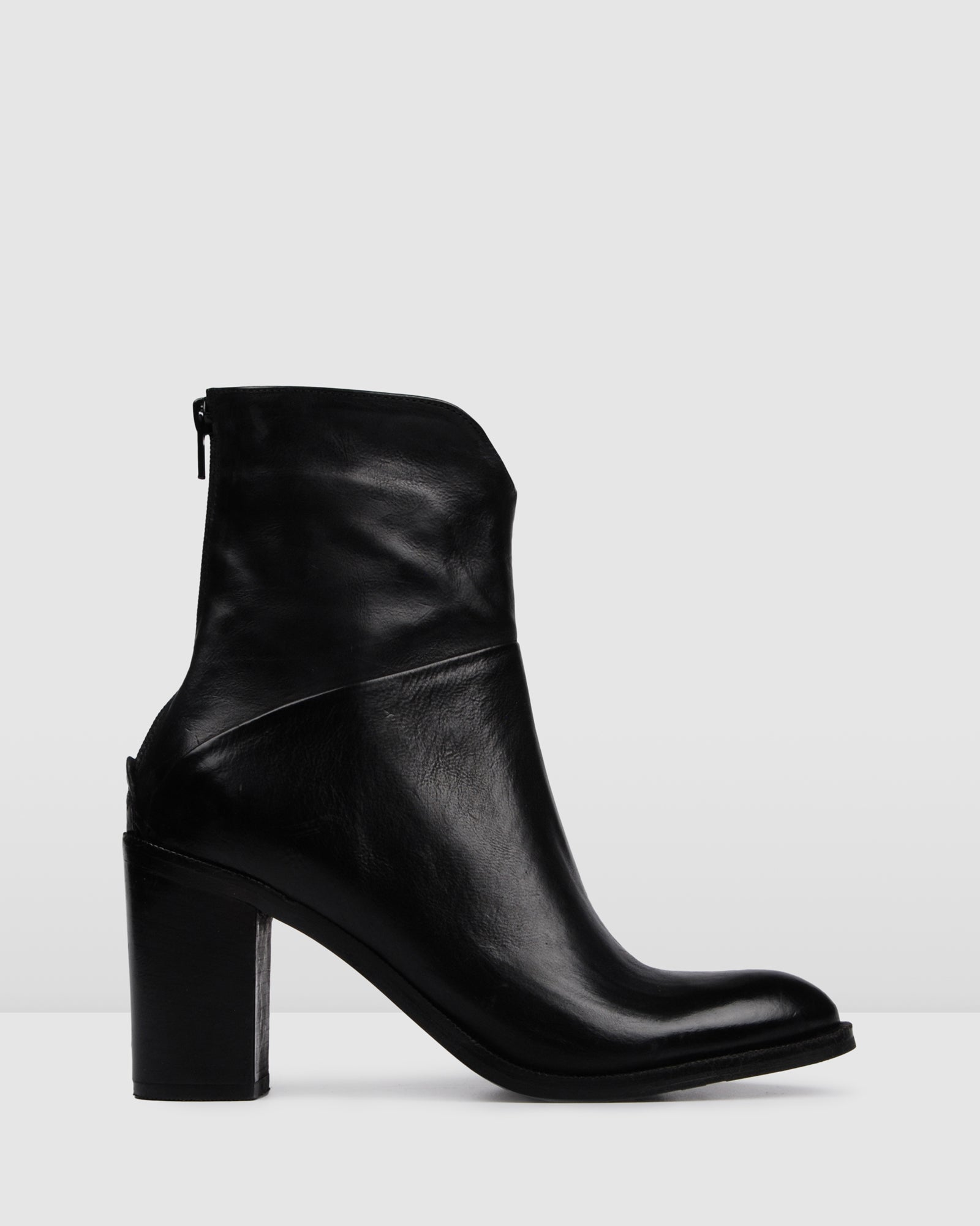 HANIA HIGH ANKLE BOOTS BLACK LEATHER