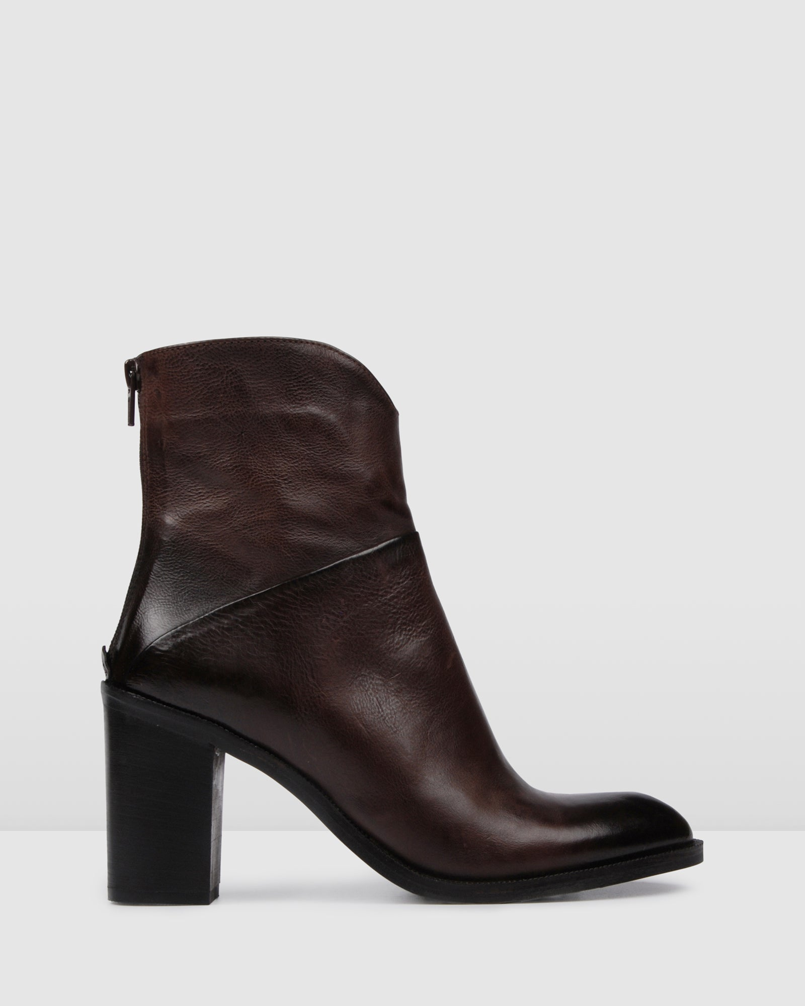HANIA HIGH ANKLE BOOTS DARK BROWN LEATHER