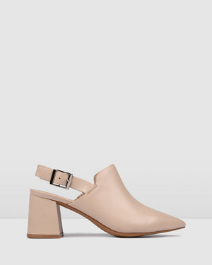 HARLEM MID HEELS BEIGE LEATHER