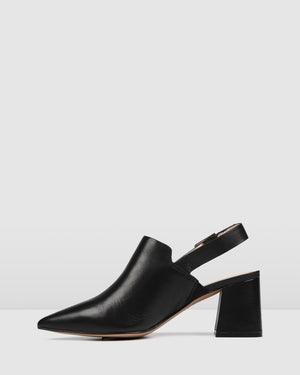 HARLEM MID HEELS BLACK LEATHER