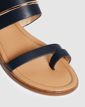 HAVEN FLAT SANDALS NAVY LEATHER