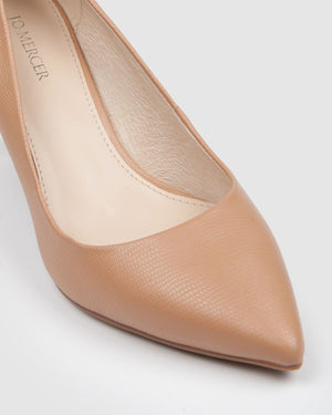 HEART MID HEELS CAMEL LEATHER