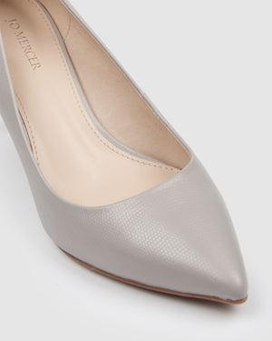 HEART MID HEELS GREY LEATHER