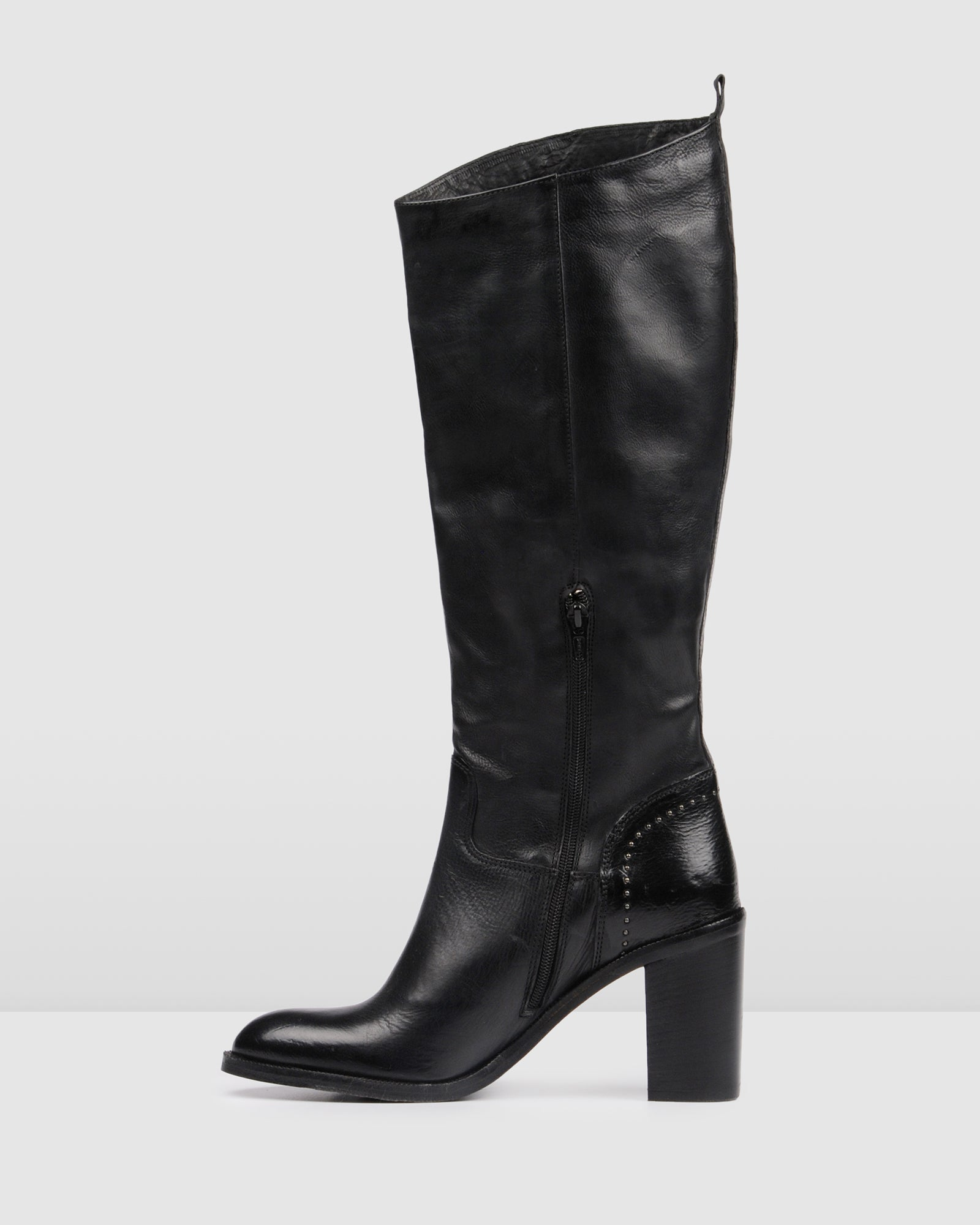HELENA HIGH KNEE BOOTS BLACK LEATHER