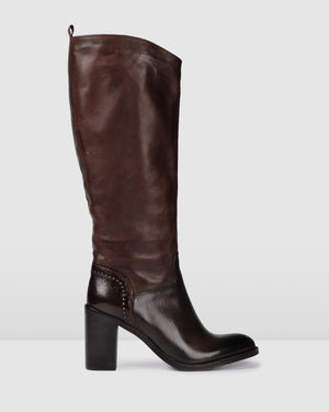HELENA HIGH KNEE BOOTS DARK BROWN LEATHER