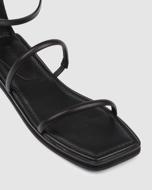 ICEY FLAT SANDALS BLACK LEATHER