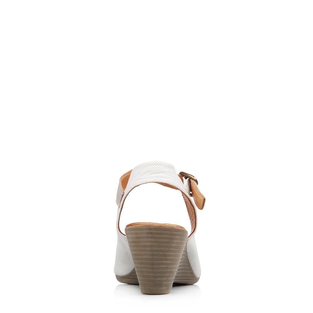 ILIN LOW HEEL WEDGES WHITE LEATHER