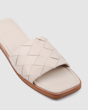 INSTA FLAT SLIDES BONE LEATHER