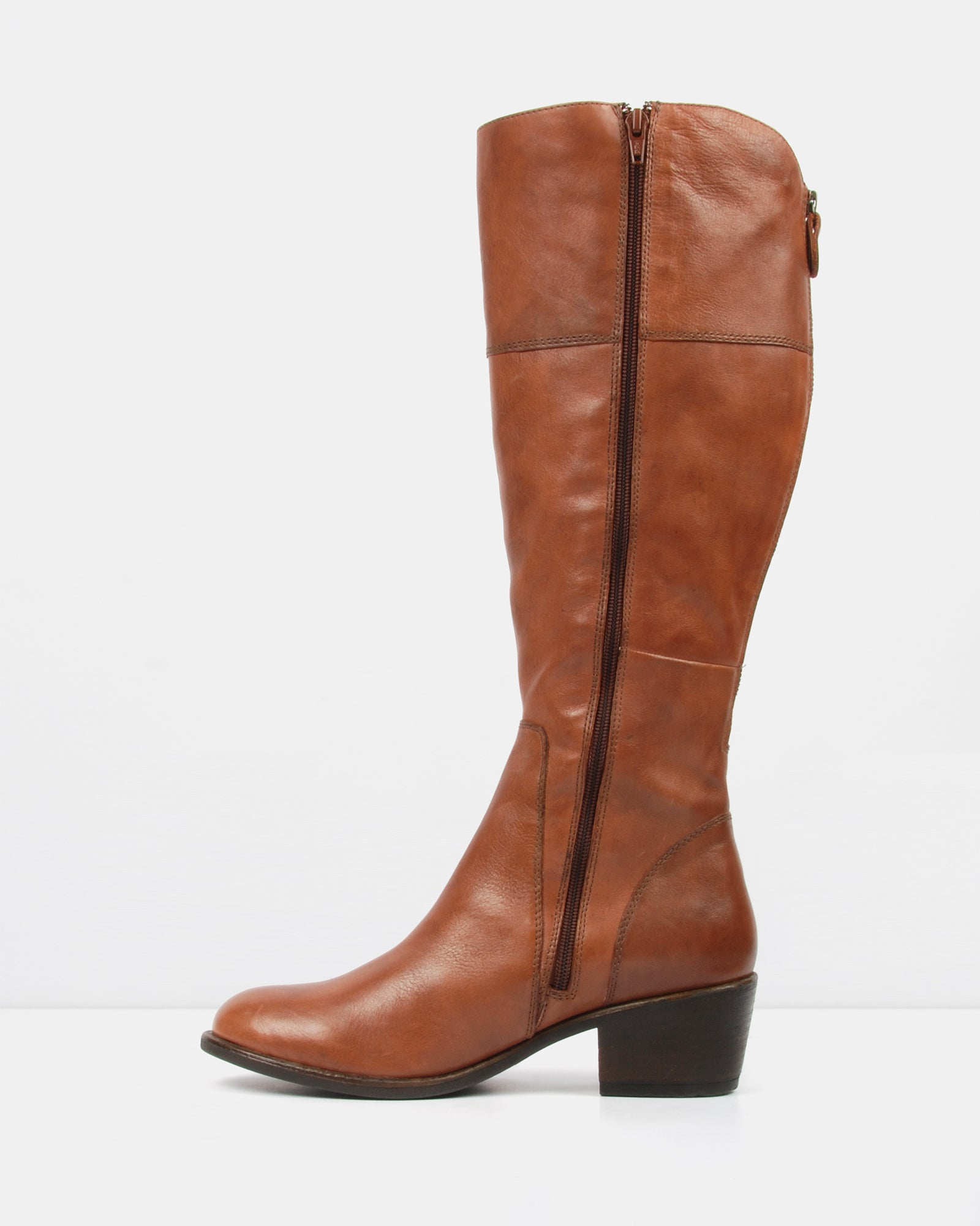 YANG - WIDE MID KNEE BOOTS COGNAC LEATHER