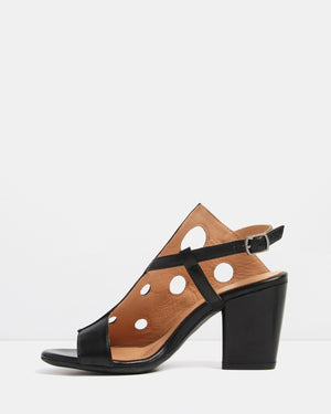 GRACIE HIGH HEEL SANDALS BLACK LEATHER