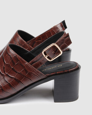 JULIUS MID HEELS BROWN CROC