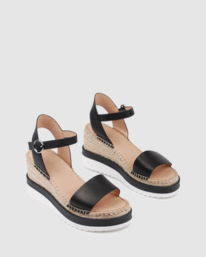 KANDY MID HEEL WEDGE ESPADRILLES BLACK LEATHER