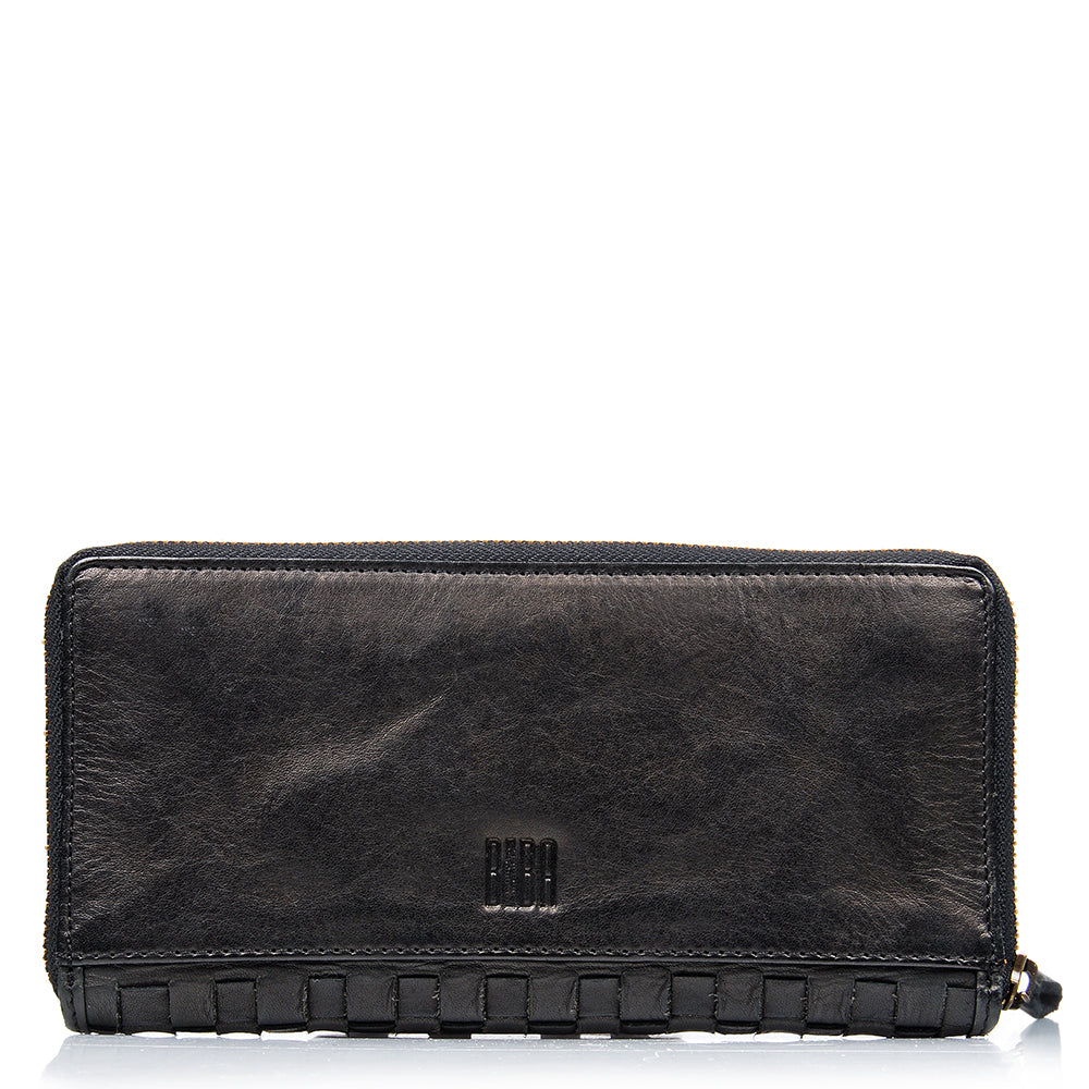 BIBA KANSAS FULL WOVEN WALLET BLACK LEATHER
