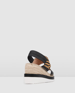 KEANU MID HEEL WEDGE ESPADRILLES BLACK MULTI