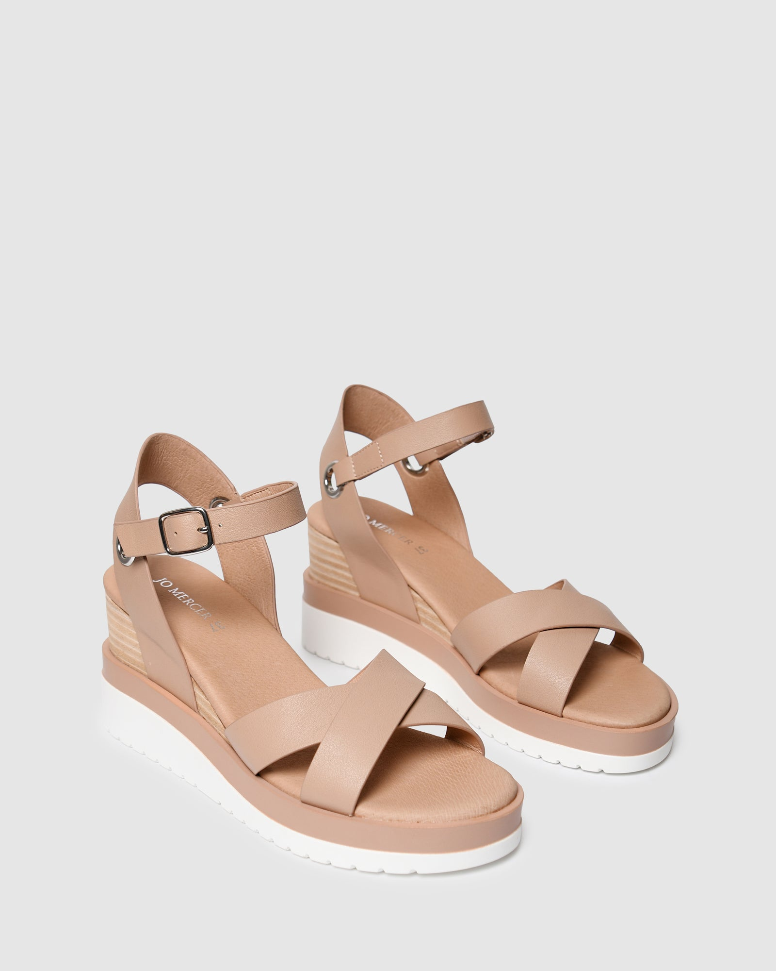 KENDALL MID HEEL WEDGES BEIGE LEATHER