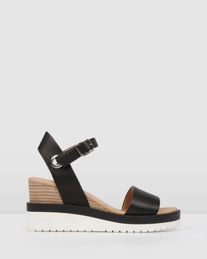 KENZIE MID HEEL WEDGES BLACK LEATHER