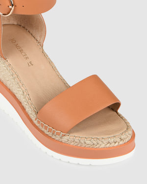 KLUME MID HEEL WEDGE ESPADRILLES PEACH LEATHER
