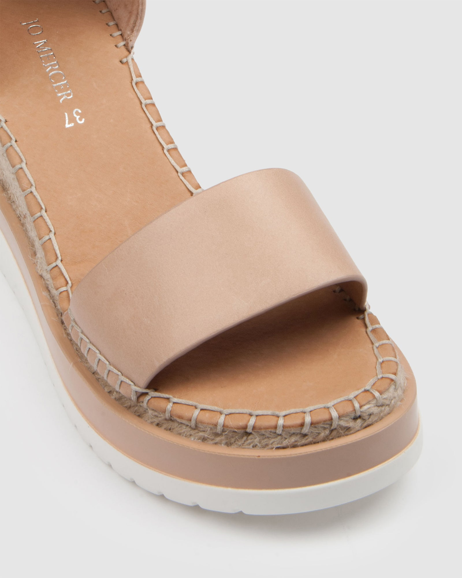 KLUME MID HEEL WEDGE ESPADRILLES NATURAL LEATHER
