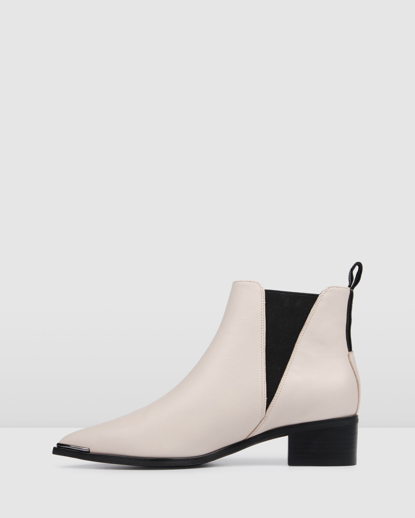 LAYLA FLAT ANKLE BOOTS BONE LEATHER