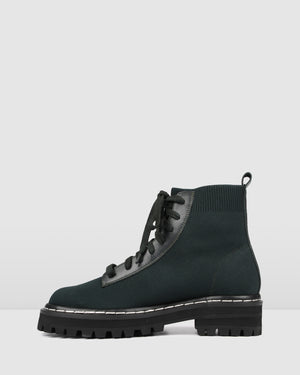 LEXAH FLAT ANKLE BOOTS FOREST GREEN