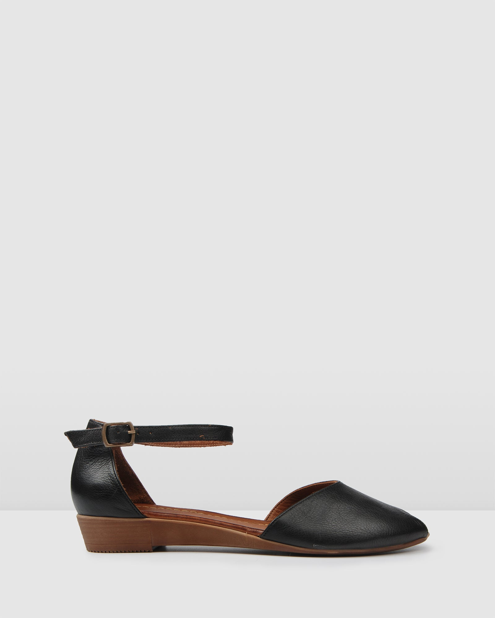LEXIE FLAT WEDGE SANDALS BLACK LEATHER