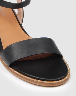 LIESEL FLAT SANDALS BLACK LEATHER