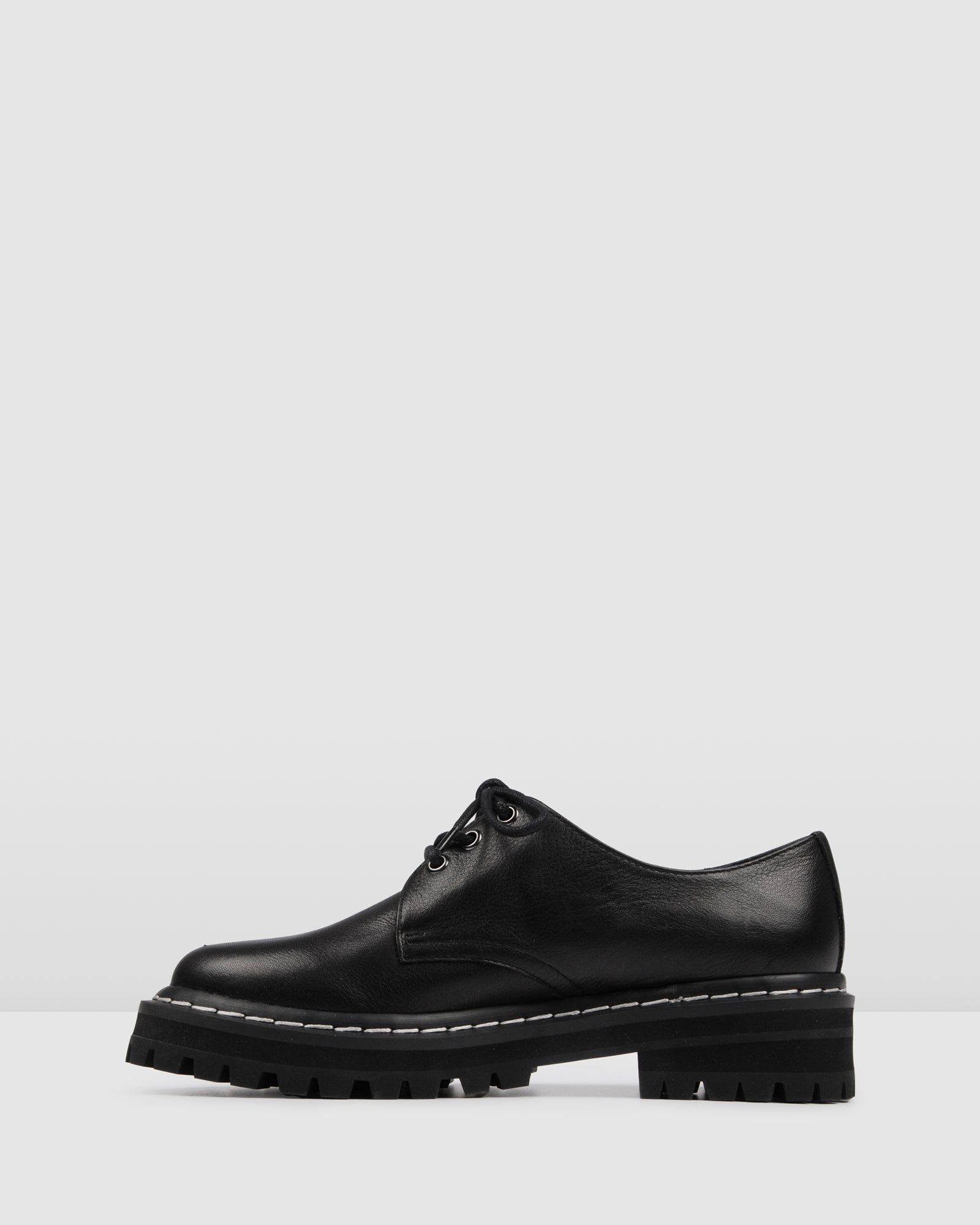 LORD LACE UPS BLACK LEATHER