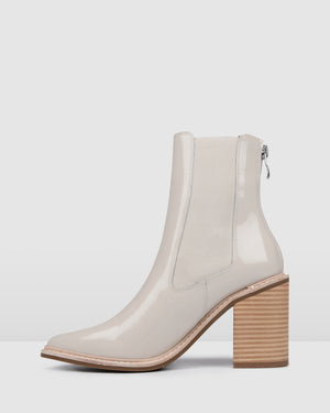 LUXE HIGH ANKLE BOOTS BONE PATENT