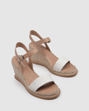 MACI HIGH HEEL WEDGE ESPADRILLES NATURAL LEATHER