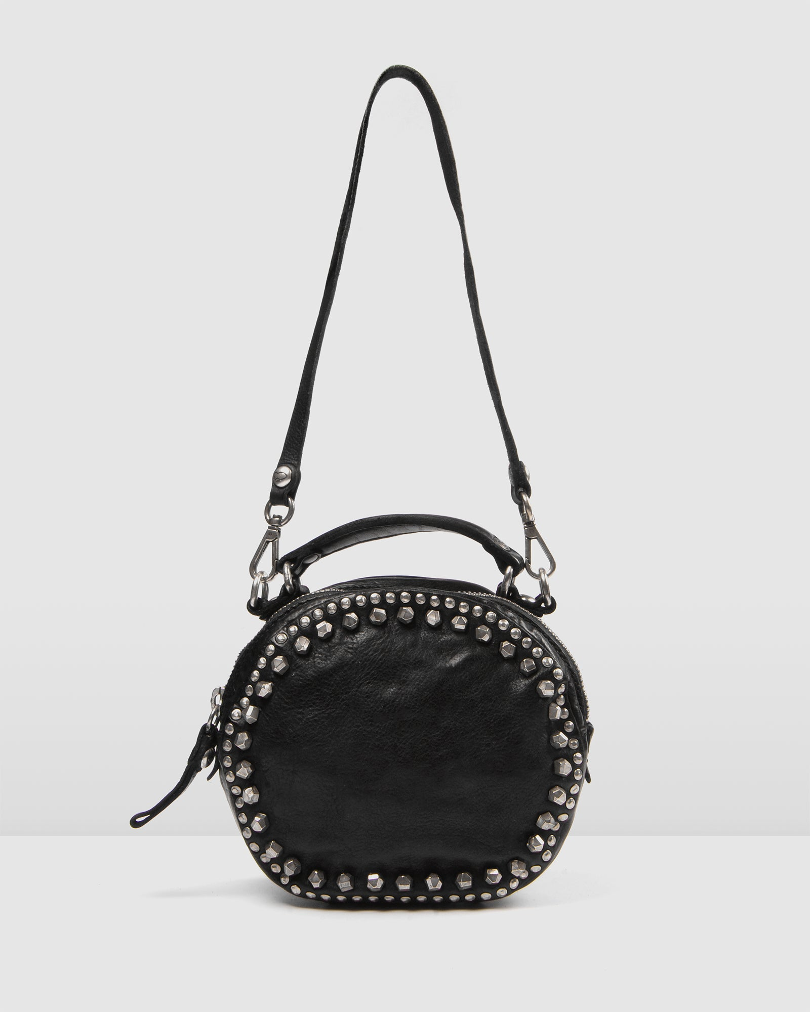 MIDNIGHT ROUND CROSS BODY BAG BLACK