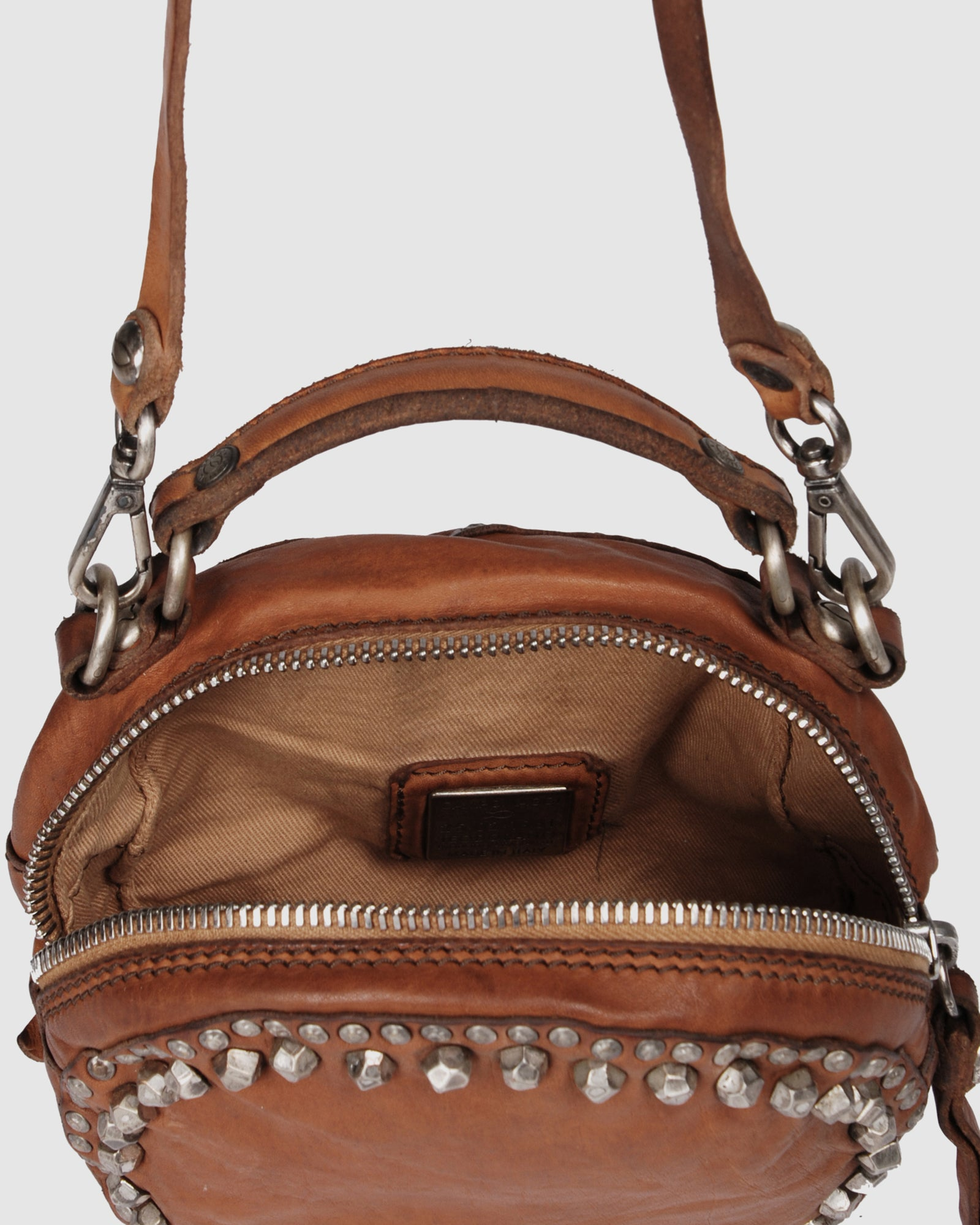 CAMPOMAGGI MIDNIGHT ROUND CROSS BODY BAG COGNAC LEATHER
