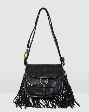 CAMPOMAGGI MILANA FRINGED SHOULDER BAG BLACK LEATHER