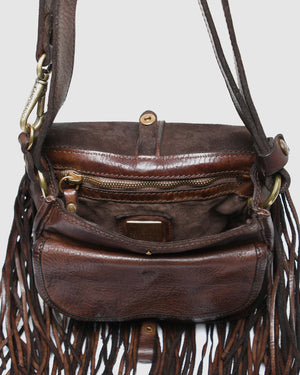 CAMPOMAGGI MILANA FRINGED SHOULDER BAG DARK BROWN LEATHER