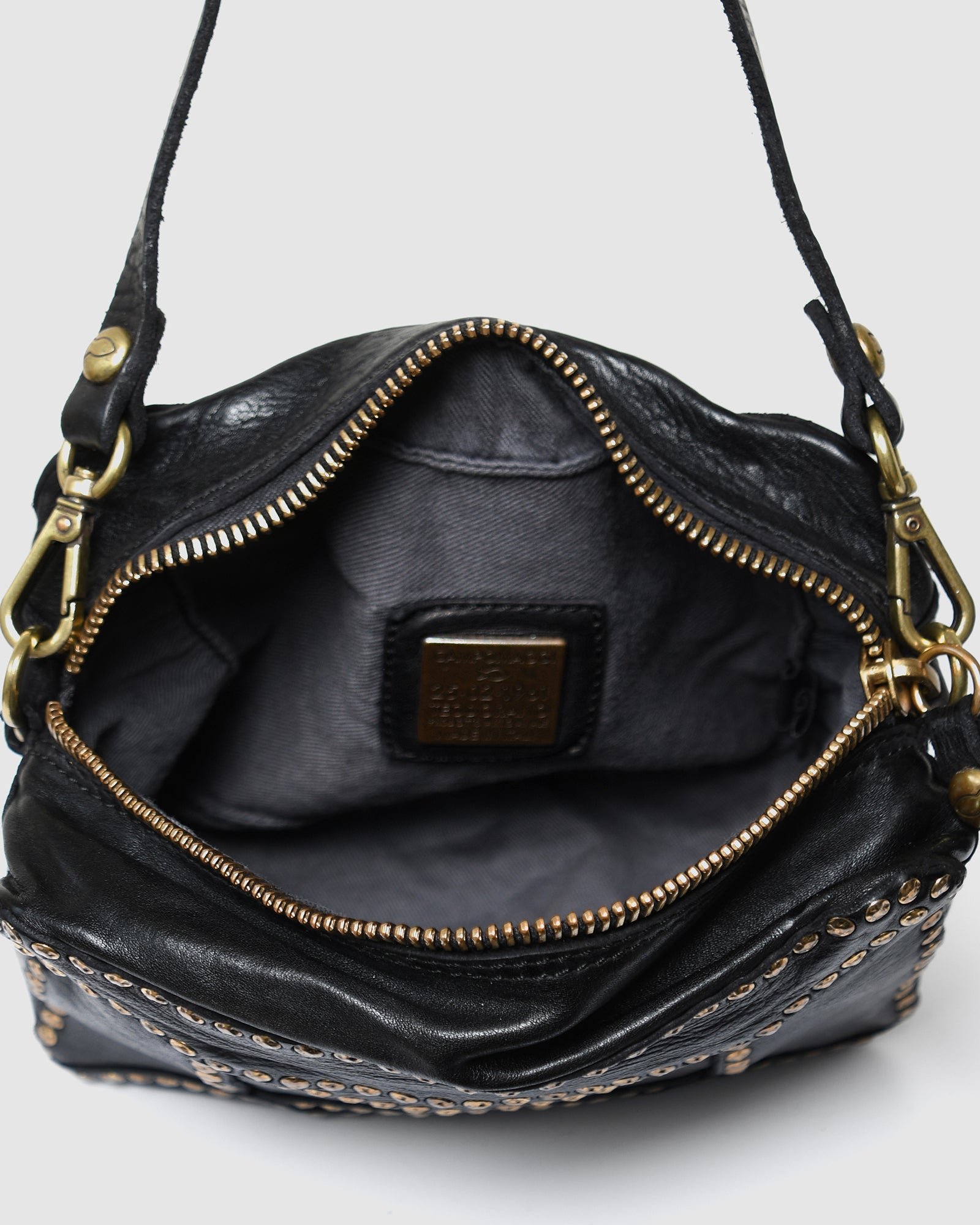 CAMPOMAGGI MONACO SHOULDER BAG BLACK LEATHER