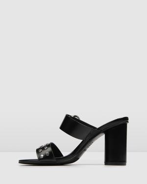 MORITZ HIGH SANDALS BLACK LEATHER