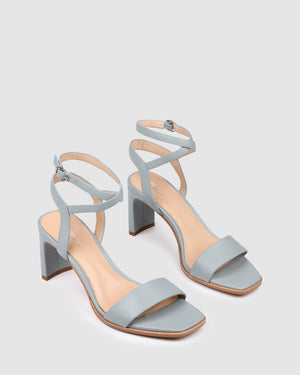NATSU MID HEEL SANDALS LIGHT BLUE LEATHER