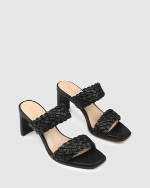 NICO MID HEEL SANDALS BLACK LEATHER