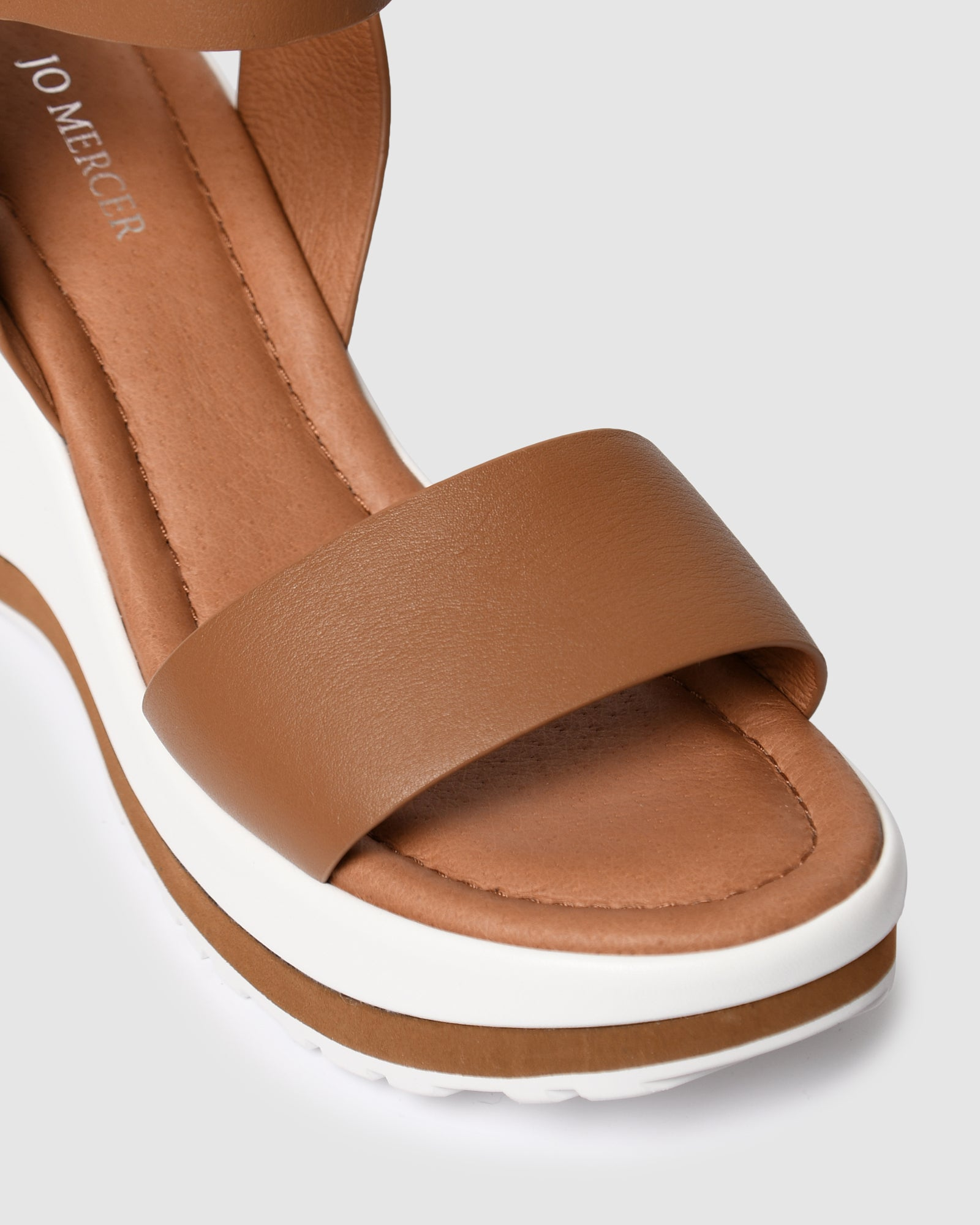 NIXON MID HEEL WEDGES TAN LEATHER