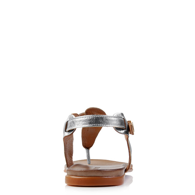 NOLA FLAT SANDALS SILVER LEATHER